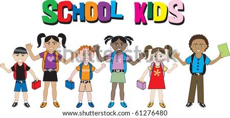 Raster version of School Kids 2. Illustration of a diverse set of school children. - stock photo