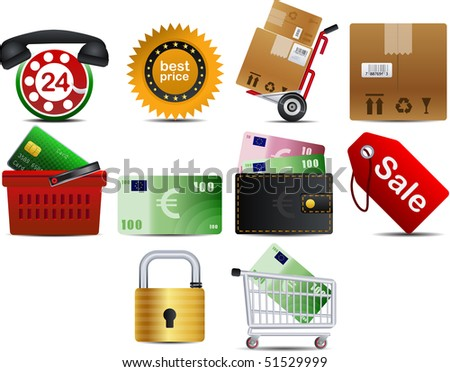 raster version of shopping set of 10 icons