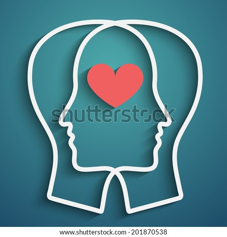 Raster version of SIlhouette of two heads with heart symbol,  - stock photo
