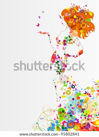 raster version of Summer decorative composition with girl - stock photo