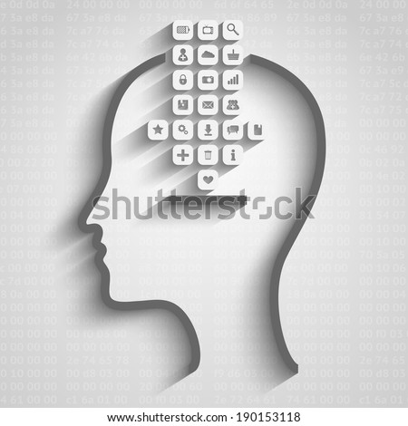 Raster version of thinking process design illustration, data download concept - stock photo