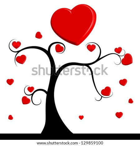 raster version of tree with red hearts