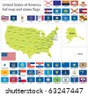 Raster version of United States of America states flags collection with full map (vector available). - stock vector