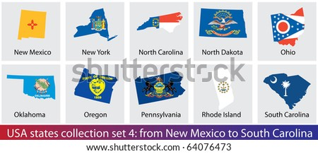 Raster version of USA states shaped flags collection. Set 4 of 5 (vector available) - stock photo
