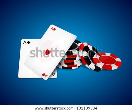 Raster version of vector aces and chips - stock photo