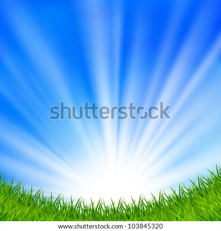 Raster version of vector background with a blue sky, sun and green grass.