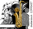 Raster version of vector black background with a saxophone - stock photo