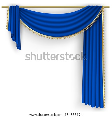 Raster version of vector blue curtain on the white background - stock photo