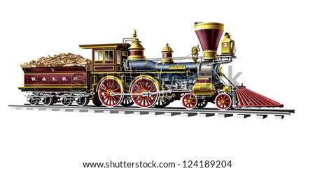 Raster version of vector/ Brown vintage steam locomotive - on a white background