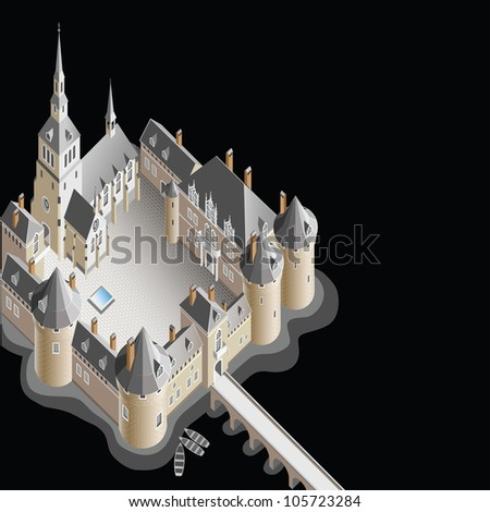 Raster version of vector/ Castle on the island - a black background. Fantasy. isometry