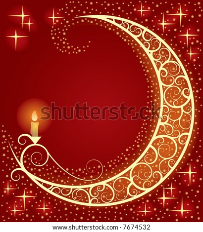 Raster version of vector Christmas & New-Year's card with a moon and a light (contain the Clipping Path)