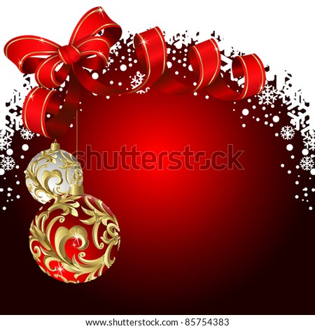 Raster version of vector christmas red background with balls and bow
