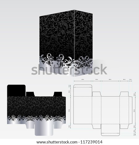 Raster version of vector completed packaging should be printed on paperboard or cardstock - stock photo