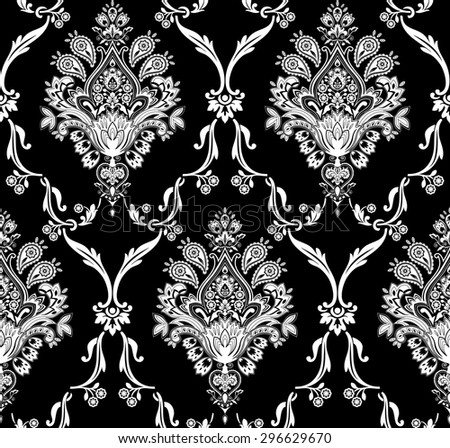 Raster version of vector damask seamless pattern. Elegant luxury texture for wallpapers. - stock photo