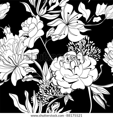 Raster version of vector Decorative seamless wallpaper with white flowers on black background - stock photo
