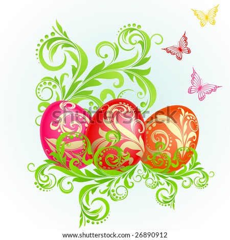Raster version of vector easter background with eggs decorated with golden ornaments and green plants
