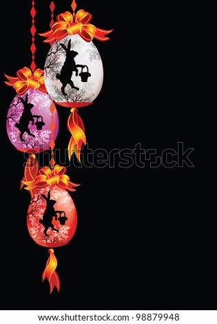 Raster version of vector/ Easter decorations on a black background - stock photo