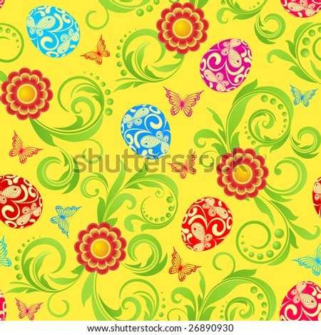 Raster version of vector easter seamless with eggs  and red flowers