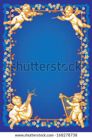 Raster version of vector/ Four cherub playing music. Multicolor vertical vignette