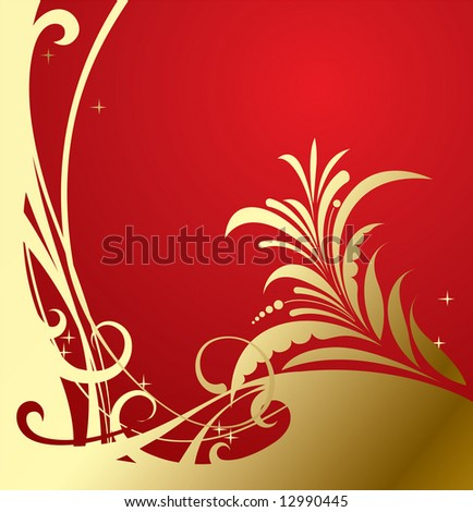 Raster version of vector gold-red classic background