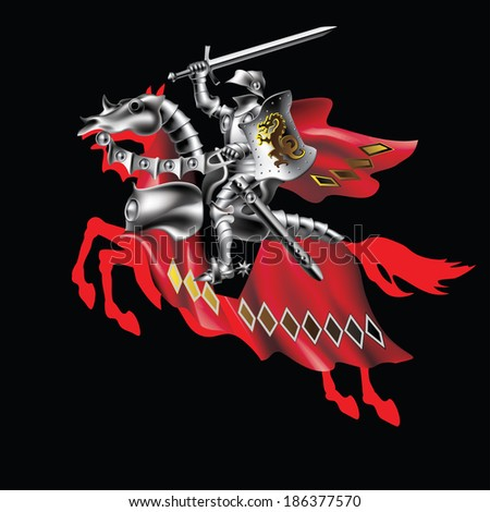 Raster version of vector/ Knight with a sword in red on a black background - stock photo