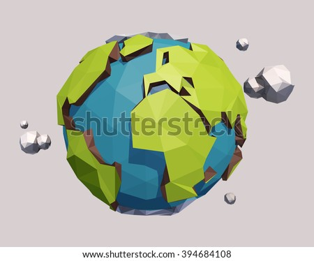 Raster version of vector low poly earth globe illustration. - stock photo