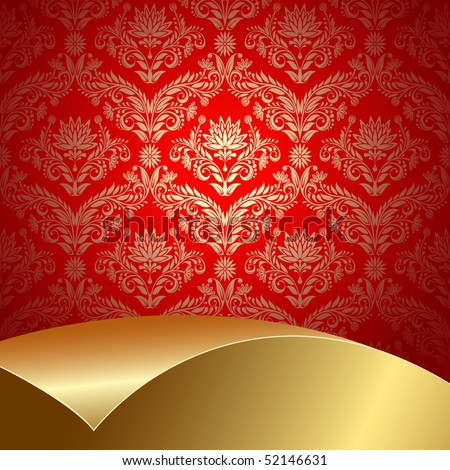 Raster version of vector red background with flowers and leaves and gold sheet . - stock photo