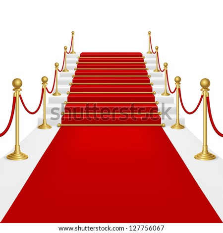 Raster version of vector red carpet with ladder.