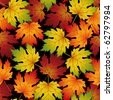Raster version of vector seamless pattern from  autumn leaves(can be repeated and scaled in any size) - stock photo