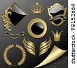 Raster version of vector set of heraldic gold and black design elements - stock photo