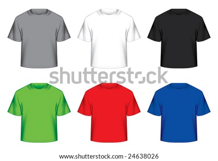 Raster version of vector set of ready t-shirts