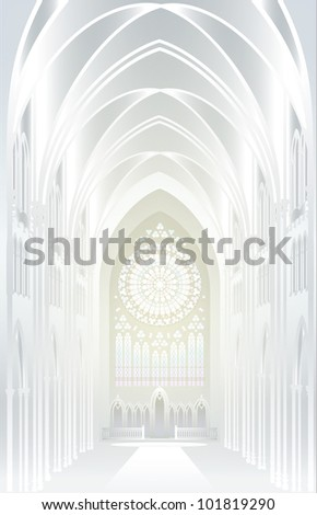 Raster version of vector/ The architectural background - silver. Imagination in Gothic style - stock photo