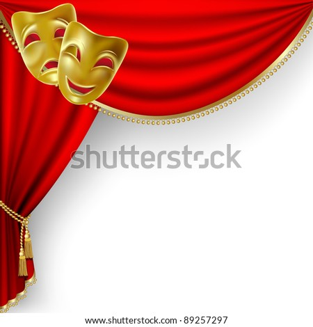 Raster version of vector theater stage  with red curtain and  masks. - stock photo