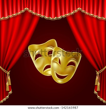 Raster version of vector theatrical mask on a red background.