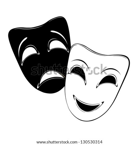 Raster version of vector theatrical mask on a white background. - stock photo