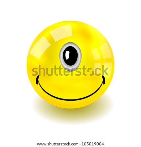 raster version. one-eyed yellow face isolated on white - stock photo