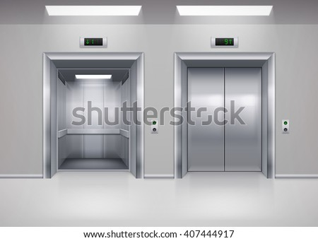 Raster version. Open and Closed Modern Metal Elevator Doors. Hall Interior in Gray Colors