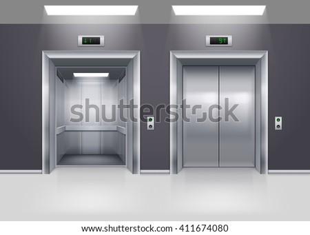 Raster version. Open and Closed Modern Metal Elevator Doors on Floor - stock photo