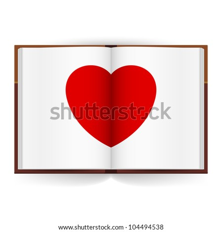 Raster version. Open book with white pages and Red Heart. Illustration on white background - stock photo