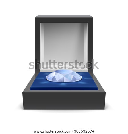 Raster version. Open box for jewelry with diamond inside on a white background