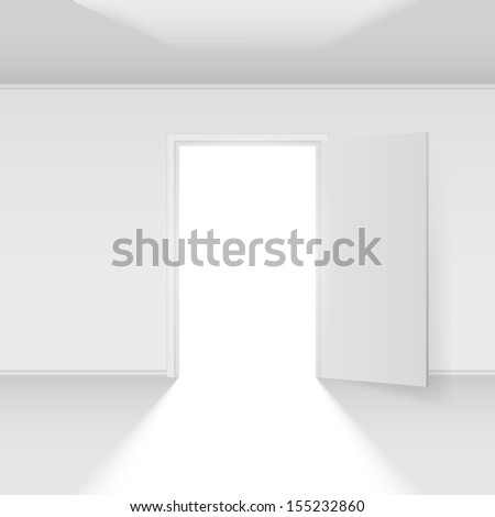 Raster version. Open door with light. Illustration on white background - stock photo