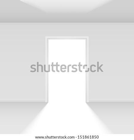 Raster version. Open door with light. Illustration on white for design - stock photo