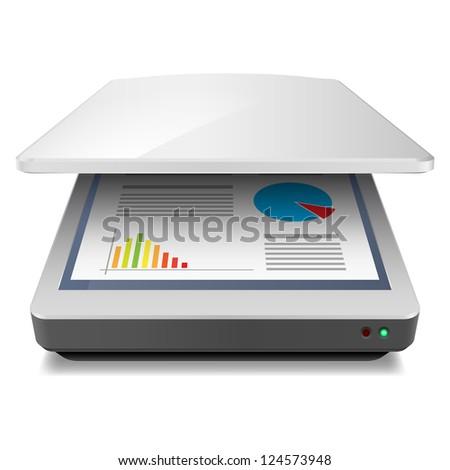Raster version. Opened Office A4 Scanner. Illustration on white - stock photo