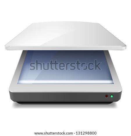 Raster version. Opened Office Scanner. Illustration on white background - stock photo