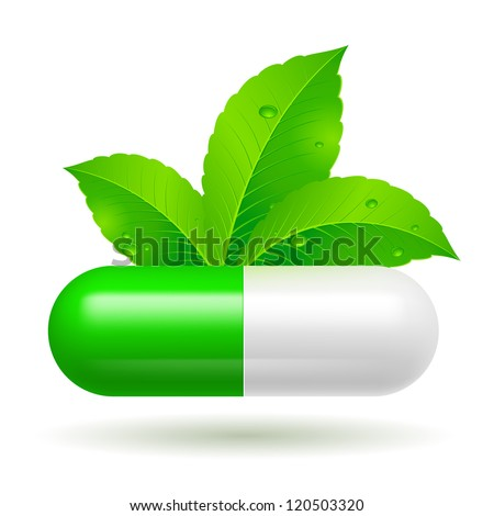 Raster version. Organic capsule with green Leaves. Illustration on white - stock photo