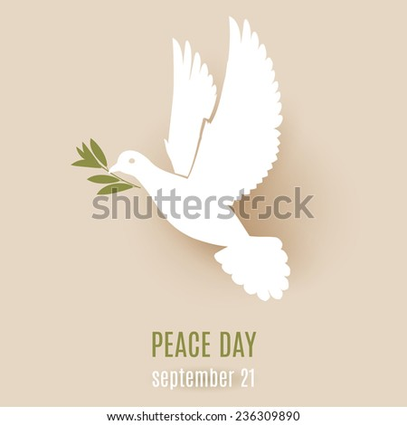 Raster version. Peace day design with flying white dove with olive branch in its beak  - stock photo