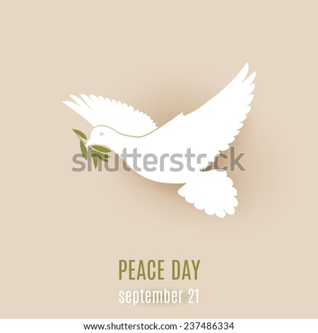 Raster version. Peace day design with flying white dove with olive twig in its beak  - stock photo