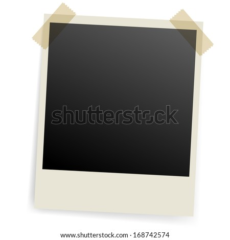 Raster version. Photo frame fixed with scotch on both sides. - stock photo