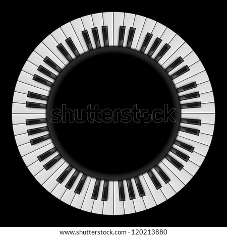 Raster version. Piano keys. Abstract illustration, for creative design on black - stock photo