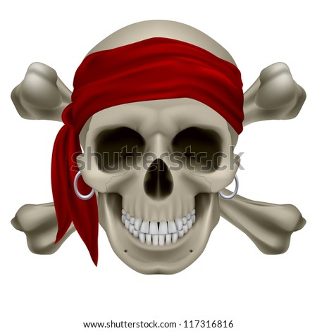 Raster version. Pirate Skull, Red bandanna and bones. Illustration on white